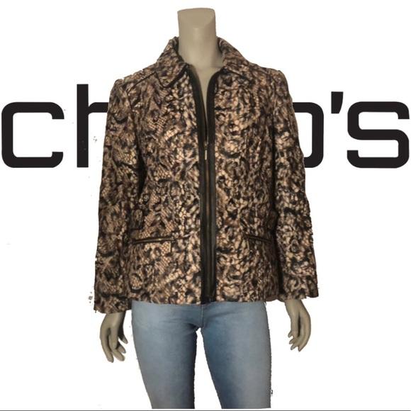 Chico's Jackets & Blazers - CHICO'S Faux Fur Animal Print A-line Short Jacket